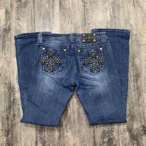 Miss Me Crystal Embellisehd Cross Bootcut Jeans